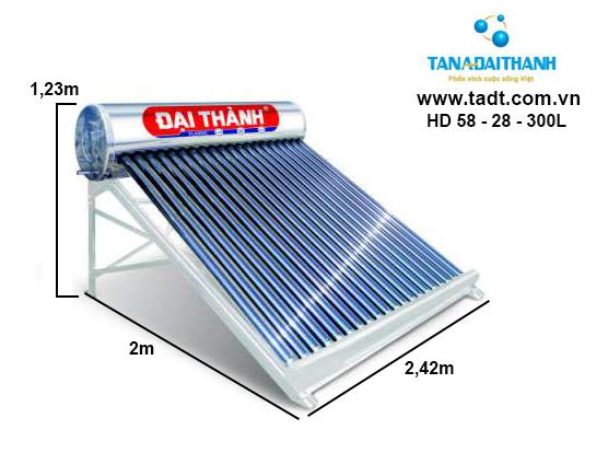 Máy nước nóng năng lượng mặt trời ĐẠI THÀNH 300 lít - f58
