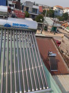 Máy nước nóng năng lượng mặt trời Bình Minh tại Bến Cát